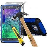 (Blau mit Pen) Samsung Galaxy Alpha hülle stoßfest von Hybrid robustes Dual Layer Schwerlast Fall-Abdeckung mit Standplatz-Funktion ausgeglichenes Glas-Hartglas Displayschutz - versenkbaren Stift