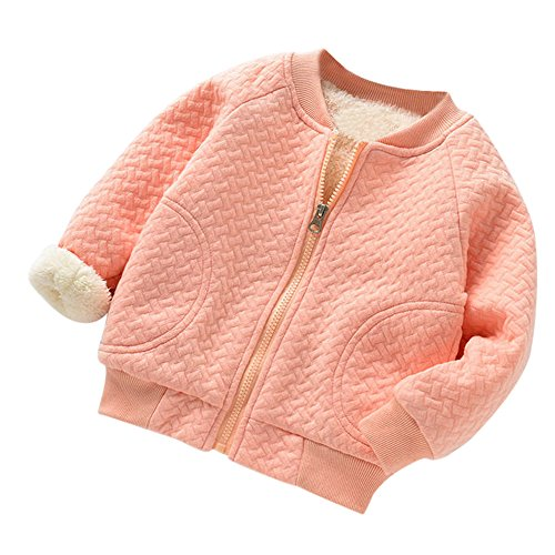 Mantel für 0-2 Jahre alt Baby, Janly Kleinkind warme dicke Bomberjacke Jungen Mädchen Plaid Zip grundlegende Jacke Tops (0-6 Monate, Rosa)