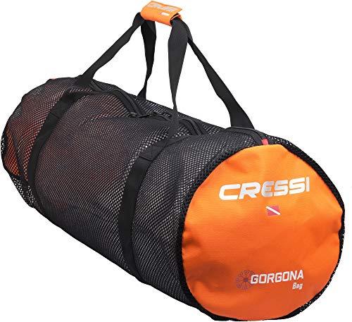 Cressi Unisex- Erwachsene Gorgona Tauchtasche Netz Schwarz/Orange, Uni