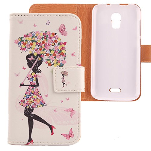 Lankashi PU Flip Leder Tasche Hülle Case Cover Schutz Handy Etui Skin Für Wiko Darkmoon Umbrella Girl Design
