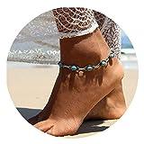 Bishilin 1 Pcs Fußkette Silber Damen mit Türkis Knöchelkette Ketten Barfuß für Damen