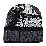 HAOLIEQUAN Femmes Hommes Chapeau Oreille Chaude Mosaïque Motif Crochet Hiver Plus Chapeaux De Velours Tricot...