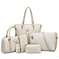 6 Pieces Set Women Handbag Fashion Tote Crossbody Bag Ladies Shoulder Messenger Bag for women K655-white
