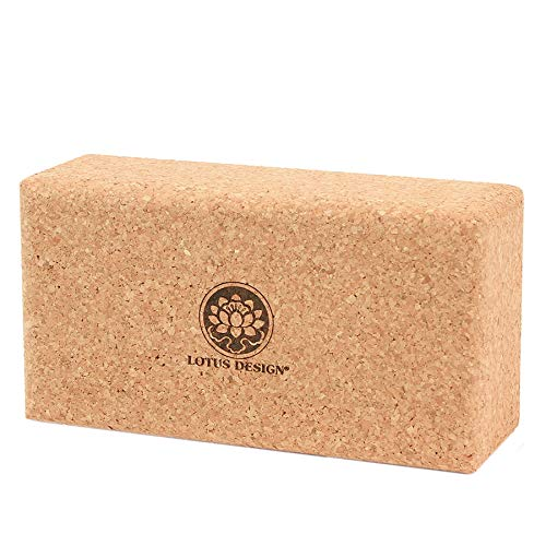Lotus Design Yogaklotz Kork, 100% Naturkork Yoga Klötze ökologisch hergestellt – Yogazubehör Yogablock Kork für Yoga und Pilates – Korkblock mit Super Grip für Anfänger und Fortgeschrittene
