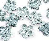 10pcs Azul Turquesa de Ganchillo de Punto Plana Apliques de Flores Parche para Coser el Bordado Broche hecho a Mano Suministros de Artesanía 25mm
