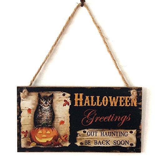 Lintimes Eule Wand Türschild Türschild aus Holz zum Aufhängen Zeichen für Halloween Hotel Home Dekoration