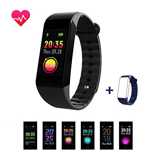 Smiler+ Fitness Armbanduhr Fitness Tracker Aktivitätstracker zur Herzfrequenz Blutdruck und Fitnessaufzeichnung, IP67 Wasserdicht Farbbildschirm Fitness-Armband Smartwatch mit Schlafmonitor Schrittzähler für iPhone Android Smartphone
