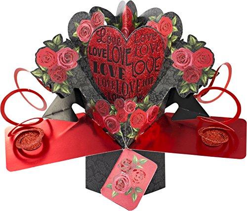 Suki Gifts International - Tarjeta de felicitación desplegable, diseño Amor y Rosas