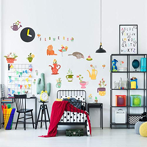 Kindergarten, Teenager, Vinylwandaufkleber-Y1529 Kätzchen Blumentopf Kreative Wandaufkleber Kinderzimmer Kindergarten Cartoon Dekorative Wandaufkleber Großhandel - Wandaufkleber