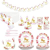 Blue Panda Carousel Birthday Party Supplies for Girl (24 Pack)