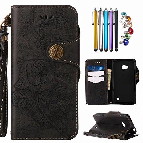LEMORRY für Lumia 640 LTE Hülle Tasche Ledertasche Schutz Magnetisch mit Kartenschlitz Weich TPU Silikon Flip Cover Schale Handyhülle für Nokia 640 mit Handschlaufe, Retro Rose (Schwarz)