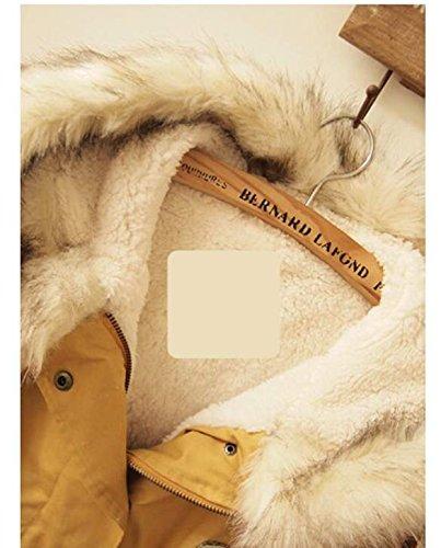 CRAVOG Damen Winterjacke Parka Mantel Wolle Jacke Kapuzenjacke Yellow