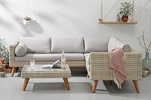 Au Jardin de Chloé - Salon de jardin meuble de jardin angles en résine tressée ronde haut de gamme - AGLAE - Mixed White Natural - 5/6 places