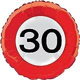 Folienballon * ZAHL 30 als VERKEHRSSCHILD * zum Geburtstag // Folien Ballon Party Helium Deko Ballongas Motto 30 dreißig Jahre Glückwunsch