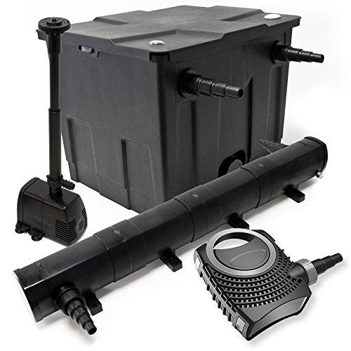 WilTec Kit de Filtration Bassin Bio 12000l Stérilisateur UVC 72W 80W Pompe éco Fontaine