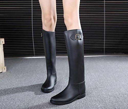 Mode Madame la Bottes de pluie Slim Bottes d'équitation Black