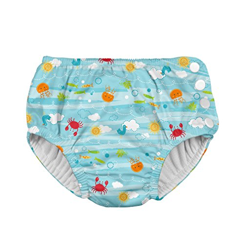 i play. Boys' Snap Reusable Absorbent Swim Diaper-Fs, Aqua Sea Friends, 24mo