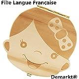 Demarkt Organisateur Dents Boîte Rangement Entreposage Bois Lait Boîte Dents d'Enfant Conservation Permanente Souvenir Haut Langue Française Bébé Fille 1PC