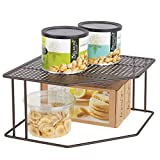 mDesign Baldas de cocina - Soporte para platos para rincones de encimeras e interiores de armarios - Estante separador con dos alturas para aprovechar el espacio al máximo - color bronce