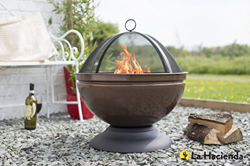 Enamelled Firepit With Grill Patio Heater Bronze