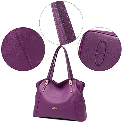 CLUCI Damen/Mädchen Ledertasche Handtasche Umhängetasche Schultertasche Klein Rosa-Rot 1-Lila