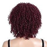 Perruque synthétique style Rihanna - Charmant bonnet complet - Cheveux courts crépus et bouclés - Rouge - Pour femme