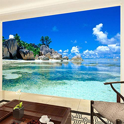 Xbwy Benutzerdefinierte Wandbild Tapete 3D Ozean Meer Strand Foto Hintergrund Vliestapete Für Schlafzimmer Wohnzimmer Wandmalerei Wohnkultur-250X175Cm