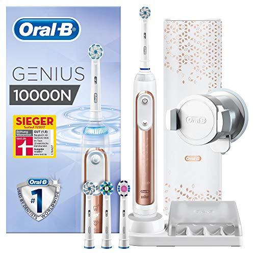 Oral-B Genius 10000N Elektrische Zahnbürste, mit Zahnfleischschutz-Assistent und Premium Lade-Reise-Etui, rose gold