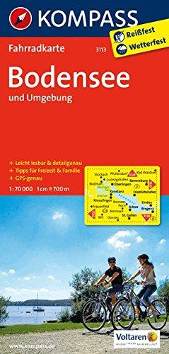 Carta cicloturistica n. 3113. Bodensee & Umgebung 1:70.000. Adatto a GPS. Digital map. DVD-ROM: Fietskaart 1:70 000 por Kompass