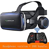 HUIJIN1 VR-Headset mit Remote Controller, Virtual Reality Headset 3D VR Goggles Gläser für 3D-Filme und Spiele kompatibel mit 4,7-6,0 Zoll,d