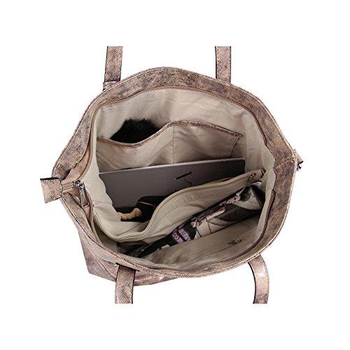 OBC Donna Metallizzato Borsa Shopper Hobo Bag Borsa A Tracolla Borsetta Con Manici Borsa marsupio - celeste, ca 40x36x16 cm ( BxHxT ) Talpa 41x37x12