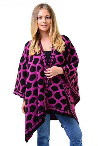 Ladies Warm Knitted Circle Jaquard Wrap Shawl UK Size 8-26 (M/L (UK 12-14), Magenta) Jaquard-wrap