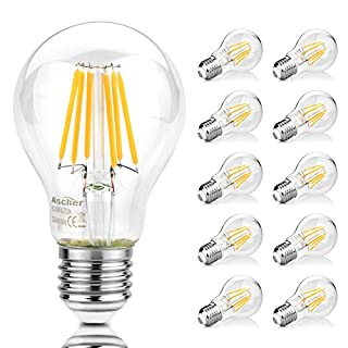 Ascher 10er Pack E27 A19 LED Lampe, 75W Entspricht Glühlampe, 1000LM, Warmweiß 2700K, E27 Retrofit Classic, LED Birne als Kolbenlampe, klar, 8W, Nicht Dimmbar