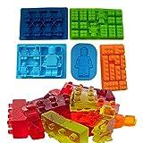 GASMIS Eiswürfelform Backform Bausteine Lego Männchen Minifigur Star Wars, 5 verschiedene Formen im Set, Ideal für Kuchen, Eiswürfel, Schokolade, Wackelpudding, Fondant, Süßigkeiten, 100% Lebensmittelsilikon, spülmaschinenfest (Farbe Random)
