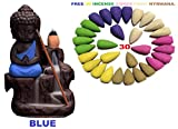 #7: Buddha Smoke Fountain |Buddha Incense Burner | Meditating Monk Buddha Smoke Backflow Cone Incense Holder Decorative Showpiece |Buddha Idol | Buddha Fountain |Buddha Statue (Blue) With Free 30 Backflow Incense Cones.