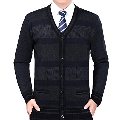 Zhhlinyuan Herren Pullover Mens Men's Father Casual British Style Stripe Stretch Comfortable Shrink-proof Long Sleeve V Neck Knit Knitted Cardigan Sweatshirt Sweater (Cardigan Style Pullover Golf)