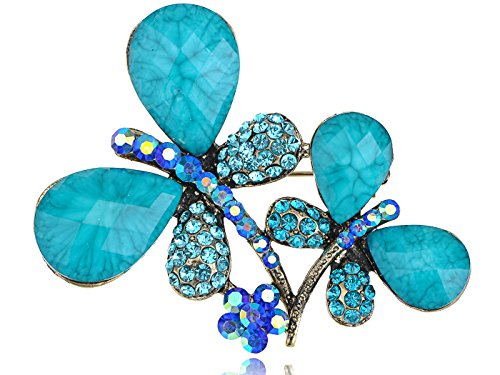 Türkis Perlen metallisch blaues Doppel-Ehepaar Dragonfly Kostüm Zwillinge Brosche