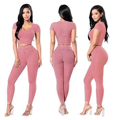 51630125e8c0 ... Sportanzug damen Kolylong® 1 Satz Frauen locker Sportanzug Tops + Hose  Beiläufig Yoga Outfit Outdoor ...