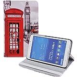 tinxi® PU piel funda para Samsung Galaxy Tab 4 7.0 -7 pulgadas (17,78cm) Caso Caja Cubierta con la función del soporte con el dibujo de una cabina telefonica roja