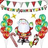 Weihnachten Ballon Set,Tumao 21 Stück Frohe Weihnachten Santa Claus Ballons Set, Luftballon-Set für Weihnachten, Party-Dekorationen,für Zuhause und Büro, als Weihnachtsdeko zu Weihnachten oder als Geschenk.