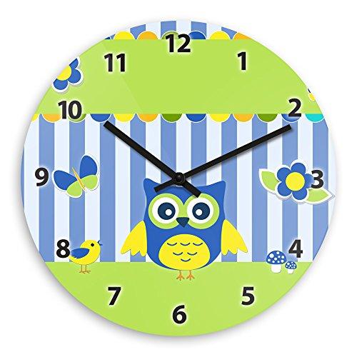 Wanduhr mit schönem Eulen-Motiv – blau – für Jungen | Kinderzimmer-Uhr | Kinder-Uhr