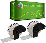 Printing Pleasure 2x Endlos-Etiketten kompatibel für Brother DK-22210 29mm x 30.48m P-Touch QL-500, QL-500BS, QL-500BW, QL-550, QL-560, QL-560VP, QL-560YX, QL-570, QL-580, QL-580N, QL-650TD, QL-700, QL-710W, QL-720NW, QL-1050, QL-1050N, QL-1060N, Thermopapier mit Kunststoffhalter