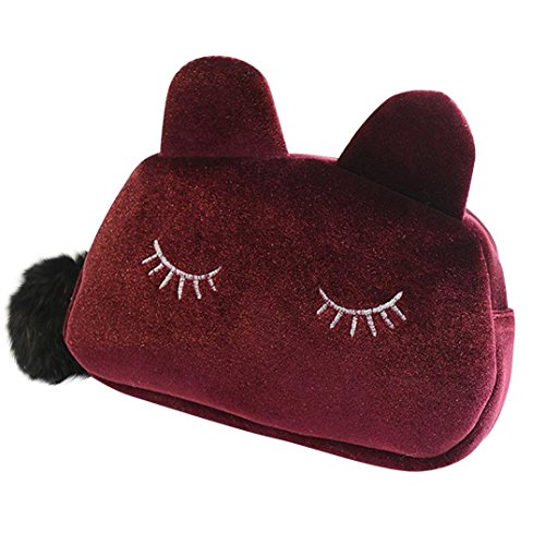 Bodhi2000 ® pour femmes filles Sac de maquillage cosmétique Portefeuille crayon Pen Holder Organiseur Pochette Housse rouge vin taille unique