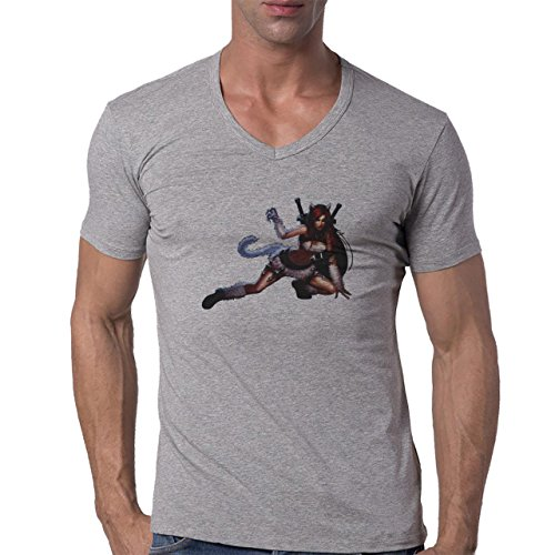 League Of Legends Cat Katarina Herren V-Neck T-Shirt Grau