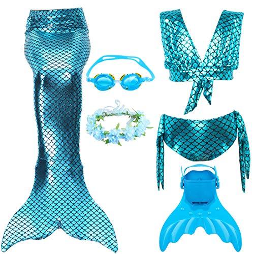 Meerjungfrau Schwanz mit Monofin Kinder Cosplay Badeanzug Kostüm, Mädchen Princess Bikini Set mit Schwimmbrille & Kranz & Schwimmflossen Trainingsflossen (L 121-130cm, JP64)
