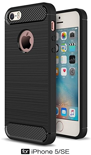 For iPhone 5 / 5s / 5 SE – WOW Imagine Premium Shock Proof Carbon Fibre Brushed Texture Armour Series [ Air Cushion Anti Shock Technology ] Impact Resistant Slim Profile Flexible TPU Phone Back Case Cover For Apple iPhone 5 / 5s / 5 SE - Carbon Black  available at amazon for Rs.429