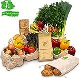 Greenkoala Obst- und Gemüsebeutel wiederverwendbar aus Biobaumwolle | Gemüsenetze Einkaufsnetze inkl....