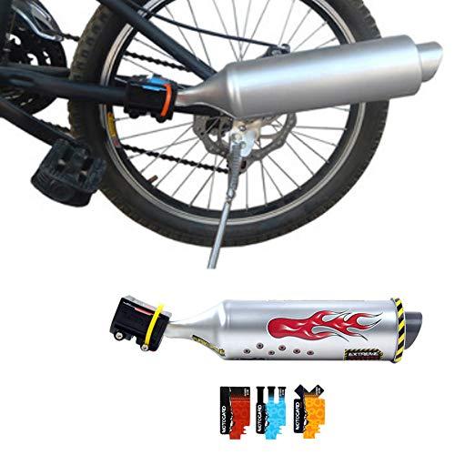 CVERY Fahrrad Auspuffrohr,Fahrrad-Turbo-Auspuffrohr-Motorrad-Soundsystem mit 6 x Soundkarten-Aufklebern, Speichensound-Maker-Karten-Radsport-Kit für Kinder