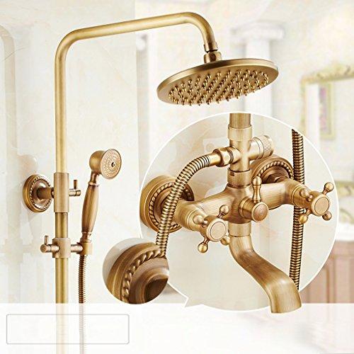 MLMH 8-Zoll-Runde 360-Grad-Kupfer Antiken Europäischen Badezimmer Drei Stände Dusche Düse Thermostat Dusche Wasserhahn Dusche (Badezimmer-duschen-stände)