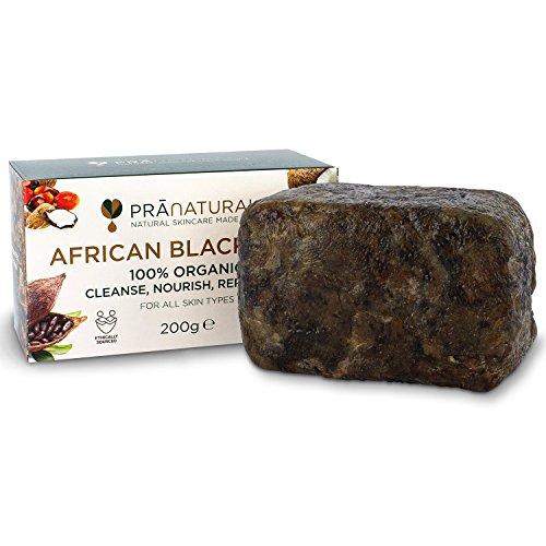 Foto de PraNaturals Jabón Negro Africano 200g, Orgánico y Vegano para Todo Tipo de Pieles, de Origen y Artesanal en Ghana Tropical, Tratamiento Natural Desintoxicante y Antienvejecimiento para Cuerpo y Cara